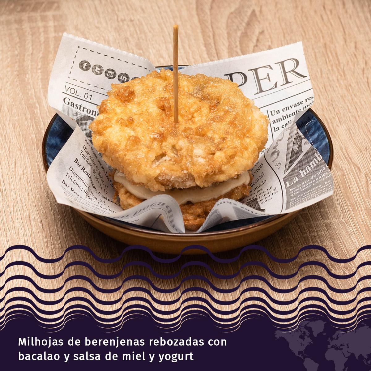Milhojas de Berenjenas Rebozadas con Bacalao