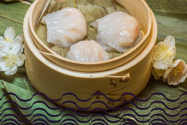 Dumplings al vapor de langostino y cebolleta